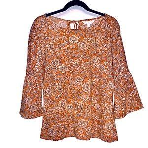 Lauren Conrad orange floral bell sleeve size M🦚
